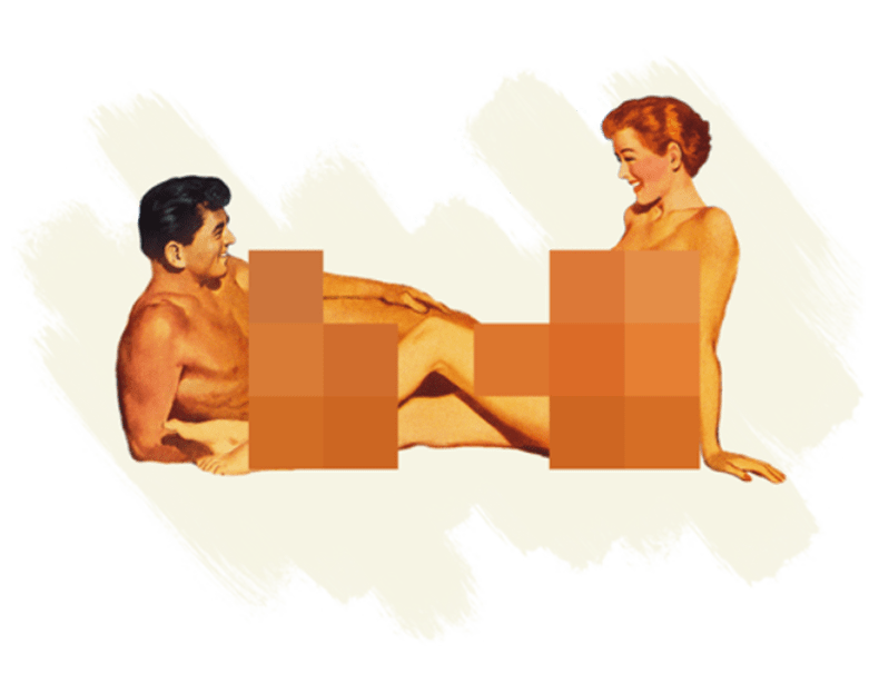 Image of two nude beachgoers who are censored by hex color boxes.